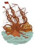 Attaque de monstre de Kraken illustration stock
