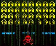 Attaque de pirate informatique rétro illustration de vecteur