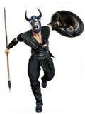 Attaque de Viking avec la lance et le bouclier sur un fond blanc d'isolement photographie stock
