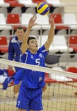Attaque de volleyball d'hommes Image stock