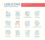 Attaques d'ordinateur - ligne icônes de conception réglées Photo libre de droits