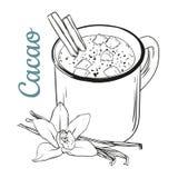 Attaquez avec le cacao, les guimauves et la poudre de chocolat Avec la vanille illustration stock