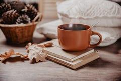 Attaquez avec une boisson chaude, une image modifiée la tonalité, le concept de l'agrément et humeur d'automne photographie stock libre de droits