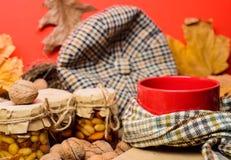 Attaquez la boisson aromatique confortable de thé en écharpe et festins Tasse de thé entourée par le fond rouge d'écharpe avec l' photo stock