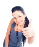 Attarctive brunette showing thumb up isolated Stock Photos