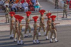ATTARI, INDIA - MARCH 23, 2018: Indian soldiers. On India Pakistan border closing ceremony stock photos