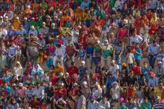 ATTARI, INDIA - MARCH 23, 2018: people on tribune. Of Indian Pakistan border closing ceremony royalty free stock images