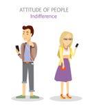 Atteggiamento della gente indifferenza Adolescenti di apatia illustrazione di stock