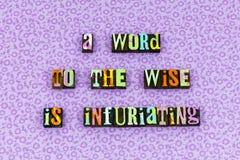 Atteggiamento saggio di consiglio di saggezza ascoltare scritto tipografico immagine stock libera da diritti