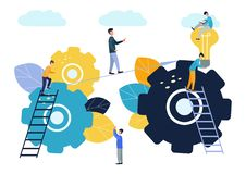 Atteignant le but, l'?quipe d'affaires surmonte des obstacles et r?ussit, la recherche de nouvelles solutions d'id?es illustration stock