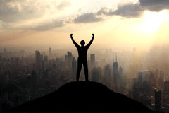 Atteinte du sommet d'une montagne Photos libres de droits