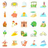 Attempt icons set, cartoon style. Attempt icons set. Cartoon set of 25 attempt icons for web isolated on white background Stock Photos
