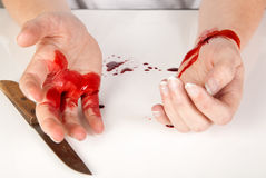 Attempt of suicide. Suicide attempt of a hand cutting a wrist Stock Photos