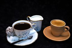 An attempt to compare grandmother`s coffee royalty free stock photography