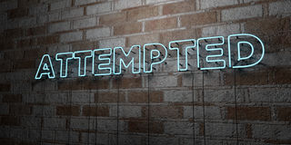 ATTEMPTED - Glowing Neon Sign on stonework wall - 3D rendered royalty free stock illustration Royalty Free Stock Photo