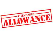 ATTENDANCE ALLOWANCE. Red Rubber Stamp over a white background Royalty Free Stock Photos