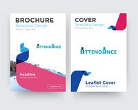 Attendance brochure flyer design template. With abstract photo background, minimalist trend business corporate roll up or annual report Stock Image