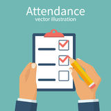 Attendance concept vector. Attendance concept. Businessman holding checklist and pencil. Questionnaire, survey, clipboard, task list. Filling out forms, planning Stock Image
