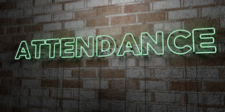 ATTENDANCE - Glowing Neon Sign on stonework wall - 3D rendered royalty free stock illustration. Can be used for online banner ads and direct mailers Royalty Free Stock Image