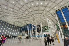 Attendees inside Messe Berlin Entrance South Stock Photography