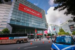 Attendees of Oracle Open World conference go to  Moscone Center. SAN FRANCISCO, CA, USA - OCT 4, 2011: Attendees of Oracle Open World conference go to  Moscone Stock Images