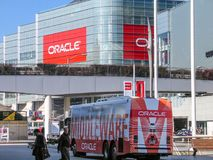 Attendees of Oracle Open World conference go to  Moscone Center. SAN FRANCISCO, CA, USA - SEPT 18, 2005: Attendees of Oracle Open World conference go to  Moscone Stock Images