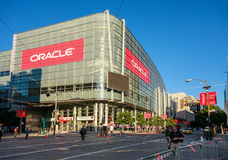 Attendees of Oracle Open World conference go to Moscone Center. SAN FRANCISCO, CA, USA - SEPT 22, 2013: Attendees of Oracle Open World conference go to Moscone Royalty Free Stock Photography