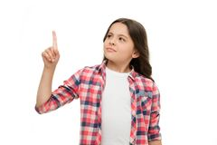 Attendez une minute Fille dirigeant l'index ascendant L'avertissement d'enfant ou demande l'attention Équipement occasionnel de f images stock