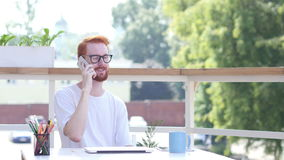 Attending Phone Call, Communicating, Sitting in Balcony of Office Outdoor. Creative designer , businessman stock video footage