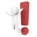 Attention. 3D Little Human Character jumping infront of an Exclamation Mark Royalty Free Stock Photos