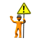 Attention. Orange cartoon character with hardhat and attention sign stock illustration