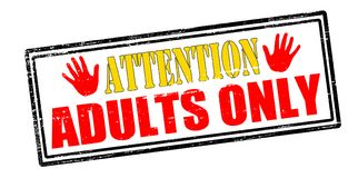 Attention adults only. Rubber stamp with text attention adults only inside,  illustration Stock Photography