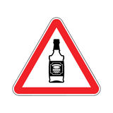 Attention alcohol. Bottle of whiskey on red triangle. Road sign Royalty Free Stock Photo