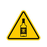Attention alcohol. Bottle of whiskey on yellow triangle. Road si royalty free illustration