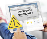 Attention Alert Connection Interrupted Warning Concept. Man using Digital Device Attention Alert Connection Interrupted Warning Royalty Free Stock Photos