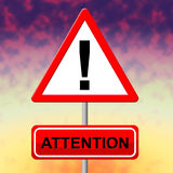 Attention Alert Means Observation Warning And Safety. Attention Alert Representing Notice Heed And Regard Stock Images