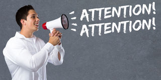Attention announcement announce warning information young man me Royalty Free Stock Images