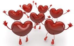 attention appelle la série heureuse de coeurs illustration de vecteur