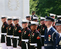 At attention, Arlington. Marines and other military honor guards at attention during a ceremony at the Tomb of the Unknown Soldier at Arlington National Cemetery stock images