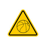 Attention basketball. Dangers yellow road sign. Game Ball Cautio Royalty Free Stock Photo