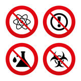 Attention biohazard icons. Chemistry flask Stock Photos