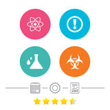 Attention biohazard icons. Chemistry flask. Attention and biohazard icons. Chemistry flask sign. Atom symbol. Calendar, cogwheel and report linear icons. Star Royalty Free Stock Photos