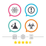 Attention biohazard icons. Chemistry flask. Attention and biohazard icons. Chemistry flask sign. Atom symbol. Calendar, internet globe and report linear icons Stock Photography