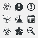 Attention biohazard icons. Chemistry flask. Royalty Free Stock Photography