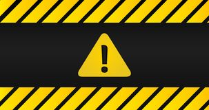 Attention black and yellow sign in striped frame on black background. Triangle with exclamation point. Design with attention icon. For banner, poster or vector illustration