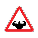 Attention bodybuilding. athlete on red triangle. Road sign. Caution fitness Stock Image