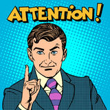 Attention businessman pointing finger Royalty Free Stock Images