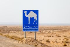Attention camels crossing road sign in Tunisia, Africa. Attention camels crossing road sign in Tunisia, North Africa stock photos