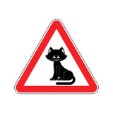 Attention cat. Caution pet. Red triangle road sign Royalty Free Stock Image