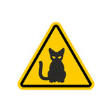 Attention cat. Danger yellow road sign. Pet Caution Stock Image